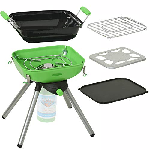 Flame King YSNVT-301 Multi-Function Portable Propane BBQ Grill Camp Stove, 8000 BTU 9.5 x 12 Inch Cooking Surface, Light Green/Black