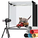 SKSYZN Portable Photo Studio Box Light Box, 24 Inches / 60 cm x 60 cm Professional Light Tent with 2 Dimmable Light Boards, 126 Pieces Light Beads, 6 Colour Backgrounds Studio Box for Photography