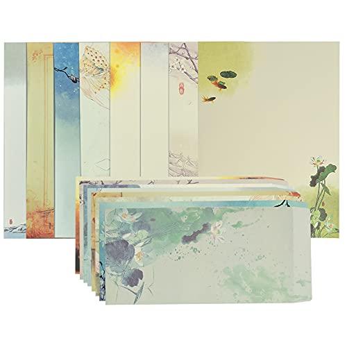 ANTHYTA 32 Blatt Briefpapier mit Umschlag Erwachsene Umschläge Schreibpapier Set Chinesischer Stil 16 Blatt Briefumschläge Motivpapier Vintage Briefpapier Farbmal Design für Bürobedarf Schreibwaren