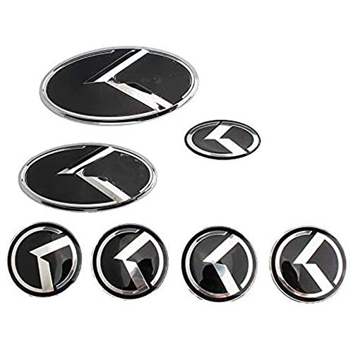 XCBW 1 Set (7 STÜCK) Kühlergrillkoffer + Lenkrad + Radmitte Kappen Aufkleber Emblem Logo, für K-ia Sorento K5 KIA VIP Kflight,Silber