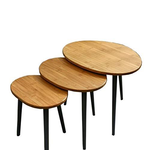 JCNFA BIJZETTAFEL 3-delige Set, Geneste Bijzettafels, Bamboo Bank Bijzettafel, Leisure Telefoon Lage Tafel, Meerdere Stukken (Color : Bamboo, Size : 3 piece set)
