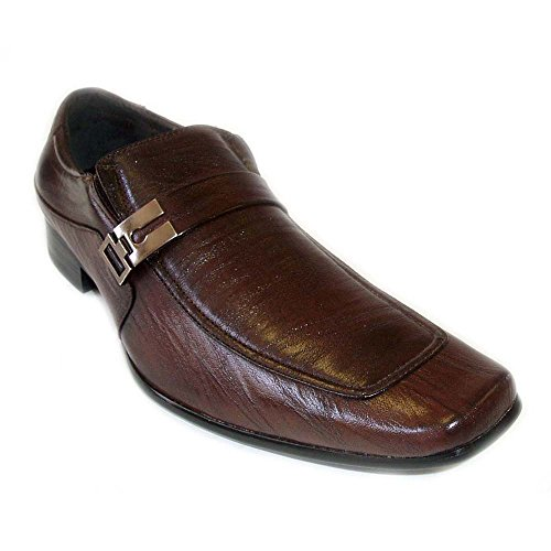 Delli Aldo New Mens Leather Dress Shoes Buckle Strap Loafers Slip ON Shoe Horn/Brown (7.5)