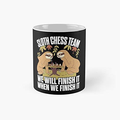 Sloth Chess Team Funny Gift Classic Mug - The Office 11 Ounces White Coffee Mugs-nilinkep