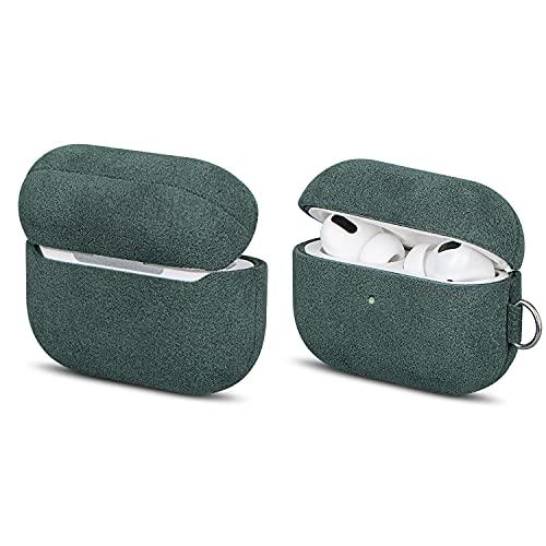 Funda de piel sintética con mosquetón y cordón para llaves, compatible con Apple AirPods Pro, FooYin serie AirPods Pro hecha a mano, funda de terciopelo de 3 capas, color verde oscuro