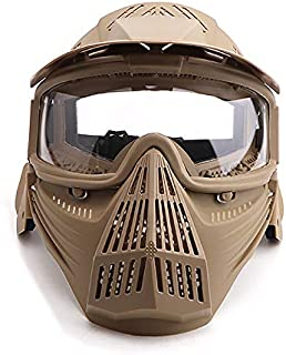 Senmortar Paintball Mask Airsoft Masks Full Face Tactical Protection Gear with Glasses for Halloween BBS CS Game Costume Accessories Motocross Skiing Black, Green, Tan and ClearLens, GreyLens