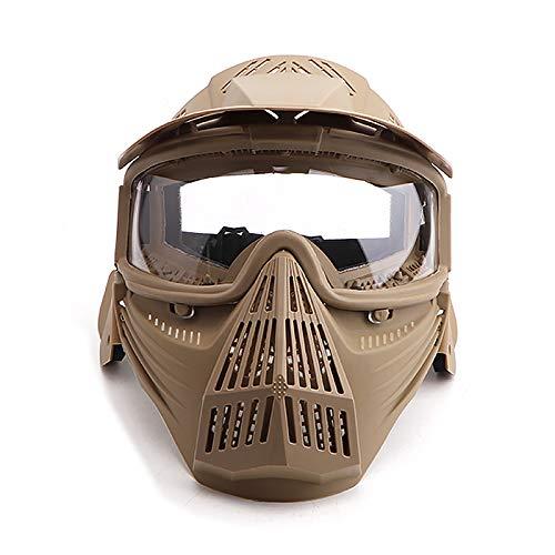 Sensong Paintball Maske mit Schutzbrille Schutzmaske Taktische Full Face fur Airsoft Softair Halloween CS Partyspiel (Brown & ClearLens)