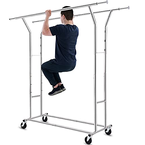 HOKEEPER 330 lbs Load Capacity Commercial Grade Clothing Garment Racks Heavy Duty Double Rails Adjustable Collapsible Rolling Clothes Rack on Wheels, Chrome Finish