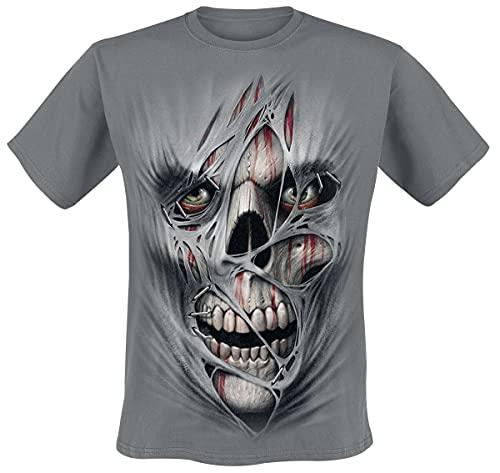 Spiral Direct Camiseta G├│tica Punk con Calavera Estampada - Gris Carb├│n S