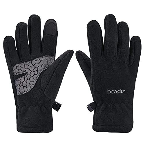 Arcweg Handschuhe Kinder Fleece Warm Laufhandschuhe Winter Gloves rutschfest Fahrradhandschuhe Touchscreen Winterhandschuhe Jungen Mädchen Fingerhandschuhe Camping Laufen Schwarz L-XL 7-8 Jahre