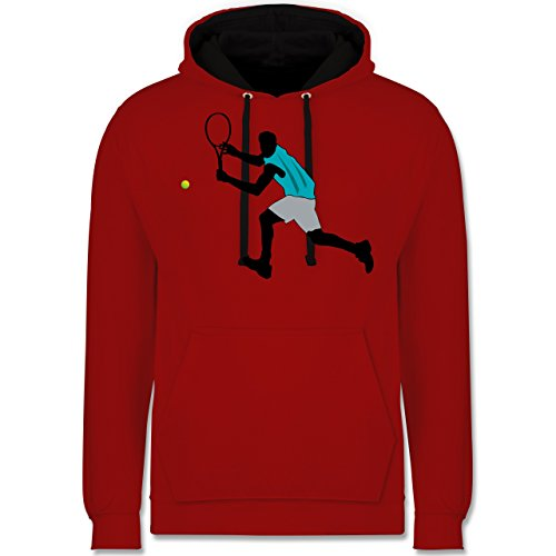 Shirtracer Tennis - Tennis Squash Rückhand - L - Rot/Schwarz - Mann - JH003 - Hoodie zweifarbig und Kapuzenpullover für Herren und Damen