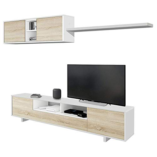 Parete attrezzata soggiorno moderna mobile TV pensile sala pranzo salotto ROVERE+BIANCO 200 X 41 X 46 cm 1F6682BO