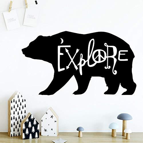 Pretty Explore Bear pegatina de pared para niños para sala de estar aula decoración de oficina Mural artístico A6 L 43x76cm