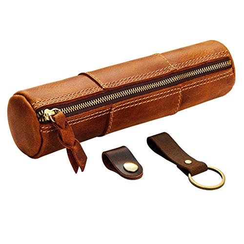 Vintage Leather Pencil Case Set with Leather Key Chain & Headphone Clip,Handmade Genuine Leather Pencil Holde with Zipper, Stationery Art Supplies College Office Pen Holder Pouch (Brown)