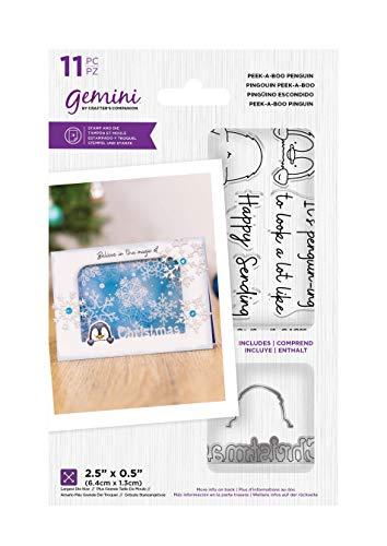 Crafters Companion GEM-STD-PABPEN Gemini – transparenter Acrylstempel und Metallschablonen-Set – Peek-A-Boo Pinguin, silber, Einheitsgröße