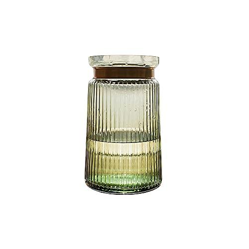 CJSWT Vidrio de jarrón de Flores, florero Estriado con Top de Metal Dorado, Decorativo Elegante para Pieza Central de Mesa, Cocina, Sala de Estar, Dormitorio, baño, Oficina
