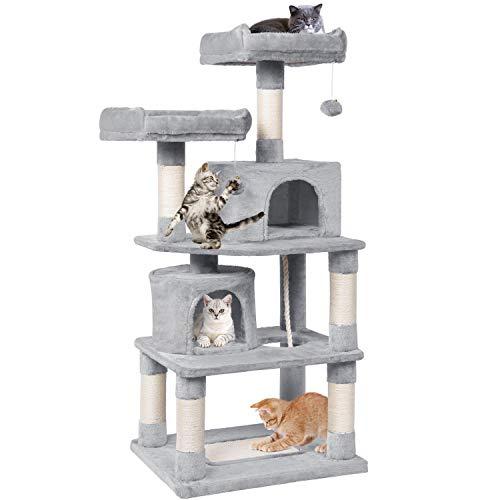 Yaheetech Cat Tree Condo with Scratching Board, Cozy Perches 57in