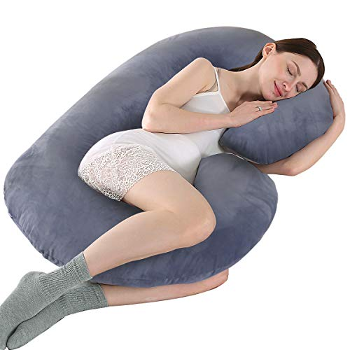 KWLET Pregnancy Pillow Cover/C Shaped Pillow Cover/Pregnancy Pillow Case/Maternity Pillow Case/Pillowcase with Double Zippers Velvet Cover 57x30 Inch for Pregnancy Pillow
