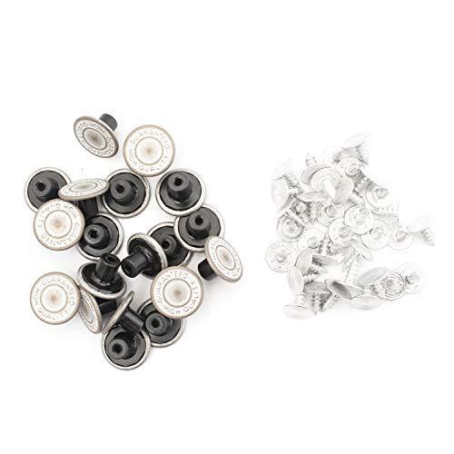 Trimming Shop Matte Zilver Brons 14mm Metalen Jeans Knopen Tack Bevestigingen met Achterpin voor Kleding Reparatie, Denims, Jassen