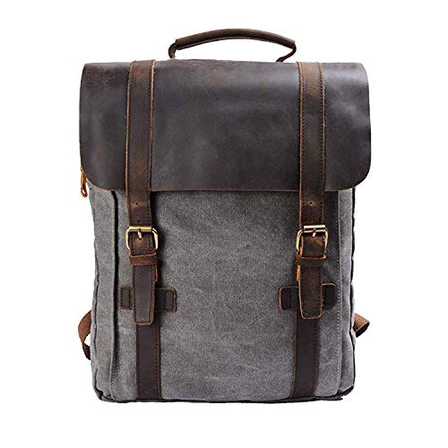 S-ZONE Updated Double Zipper Version Unisex Vintage Canvas Genuine Leather Travel School Bag 15.6 Laptop Backpack Rucksack Daypack Casual Daypacks (Gray)