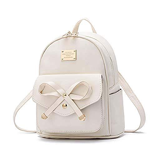Piccolo zaino per le donne Carino impermeabile donne zaino borsa delle ragazze dei bagagli in pelle Mini zaino Bookbag borsa bianca