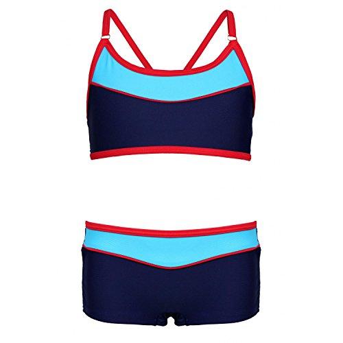 Aquarti Mädchen Sport Bikini - Badehose & Racerback Oberteil, Farbe: Dunkelblau/Rot, Größe: 128