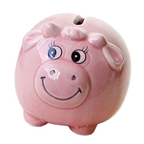 H HILABEE Piggy Bank Hucha Tarro para Fondos de Ahorro Monedas Regalo de Cumpleaños para Niños Rosa