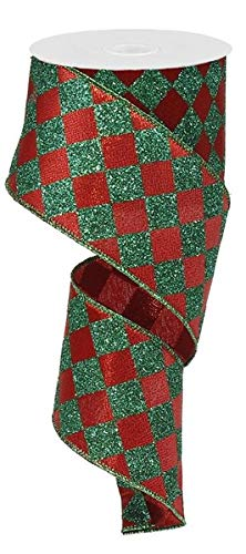 Emerald Red Glitter Large Diamond Wired Edge Ribbon - Christmas Decorations - 50 Yards (2.5')