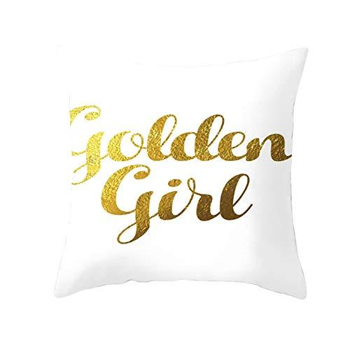 Socoz Fundas de cojín rectangulares, fundas decorativas para cama, 45 x 45 cm, fundas decorativas rectangulares Golden Girl estilo 16
