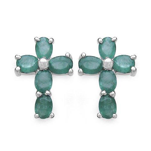 Jaipuri.instyle Damen-Ohrstecker 925 Sterling Silber Rhodiniert Smaragd E223E