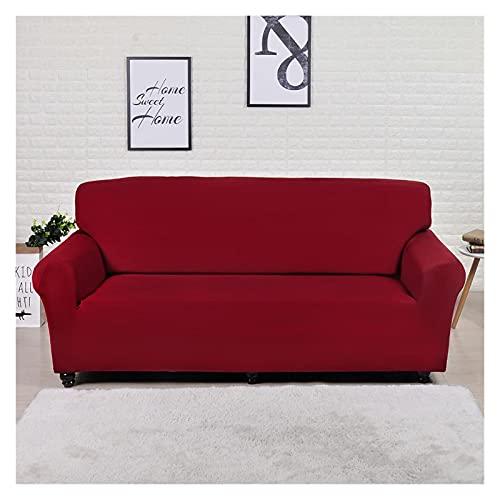 OYZK Geometrische elastische Sofa-Abdeckung für Wohnzimmer Moderne Sektional-Ecksofa-Slip-Couch Couch-Cover-Stuhl-Beschützer 1/2/3/4 Sitzer (Color : Solid Dark Red, Specification : 1 Seater 90 140cm)