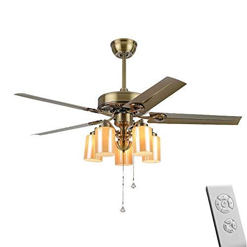 Vintage Plafondventilator met Lichten plafond verlichting, smeedijzer 42 inch LED-plafond lampen met afstandsbediening Kroonluchter, hanglamp ventilator for Woonkamer Slaapkamer Keuken