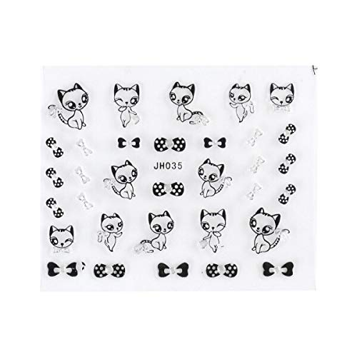 3D Nail Stickers Black Sliver Cat Butterfly Patterns Nail Art Decorations Decals Cartoon Nail Wrap Adhesive Sliders LAJH025-36