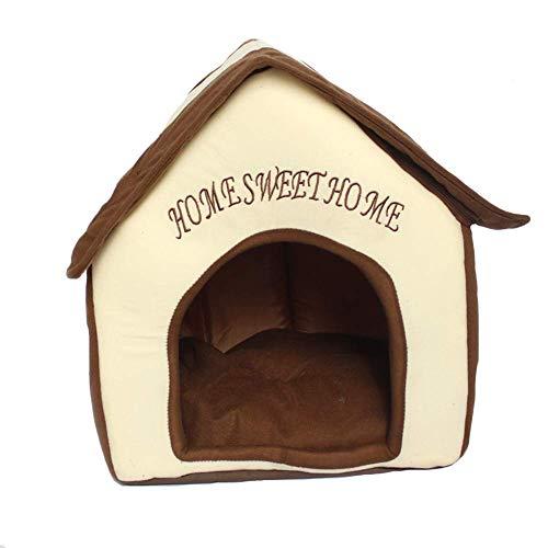Cama para Perros y Gatos Interiores Portátil Plegable de Caseta para Perro, Nest para Gato 38 * 40 * 45cm