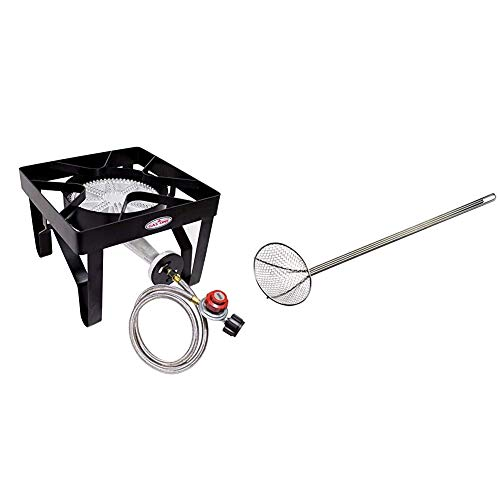 GasOne 200, 000 BTU Square Heavy- Duty Single Burner Outdoor Stove Propane Gas Cooker with Adjustable 0-20Psi Regulator & Steel Braided Hose & Bayou Classic 0196 36-Inch Nickel-Plated Skimmer