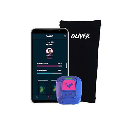 Oliver OLI GPS Fútbol Tracker-Cubre espinillera-App iOS y Android para Jugar Mejor y prevenir Lesiones, Adultos Unisex, Azul, Pequeño