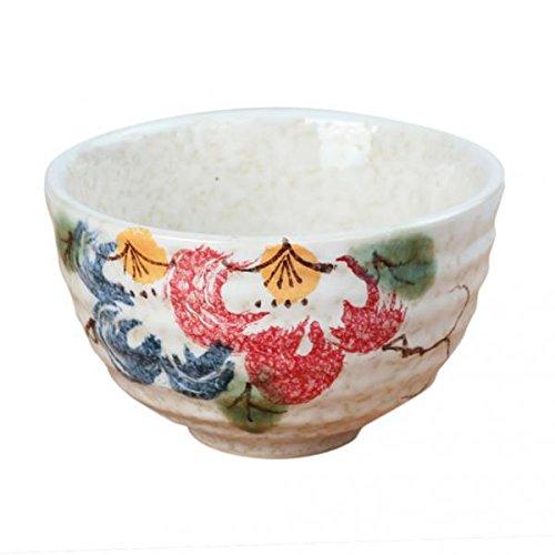 LOVIVER 2 Juegos de Tazón de Matcha de Ceremonia del Té de Estilo Japonés, Diseño Floral de Peonía de Esmalte Blanco Chawan