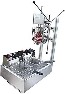 DONNGYZ Manual Spanish Maker Machine w/Stand Commercial Manual Vertical 3L Churros Donut Machine 110V w/ 6/12L Fryer Commercial Use for Cake Room Coffee Shop Bakery Equipment(US Stock)
