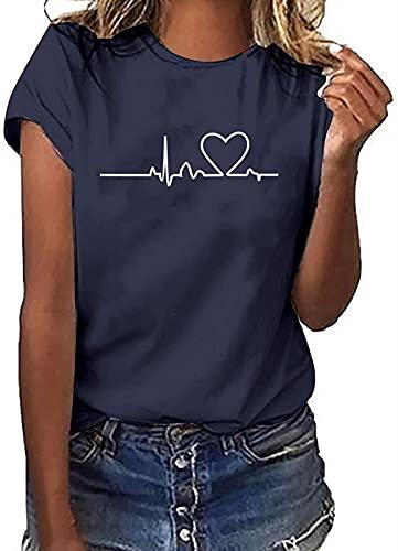 Camiseta de cuello redondo con estampado electrográfico para mujer con cuello redondo y cuello redondo informal y cómodas túnicas