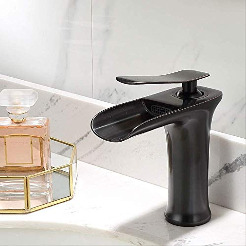 Alle Kupfer Küche heiß und kalt M8771K Gold,Bad Armatur Wasserhahn Waschtischarmatur aus, Waschbecken Armatur mit Wasserfall Waschtisch Waschbecken, Einhebelmischer fürs Bad