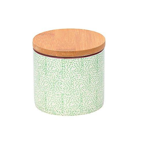 Tranquillo Dose Haiku aus Steingut mit abnehmbarem Bambusdeckel, inkl. Dichtungsring, 7,5 x 5,5 cm - GRÜN