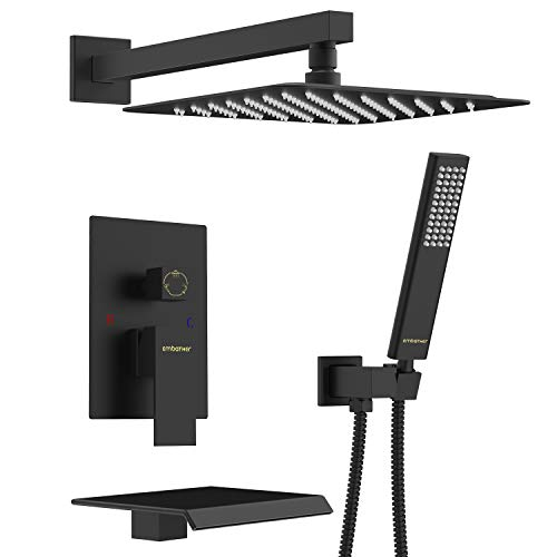 EMBATHER Black Shower System with Waterfall Tub Spout 12 inch Shower Tub Faucet Set Wall Mount wiht Rain Showerhead and Handhled(Contain Shower Faucet Rough-in Valve Body and Trim)