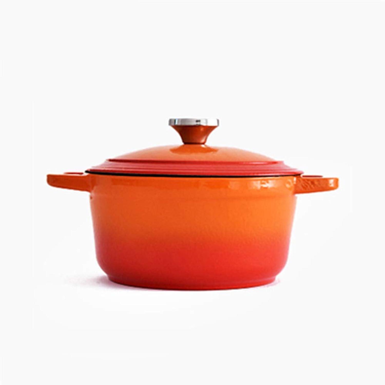 estar en gran demanda Cast iron casserole,Cacerola de hierro fundido con con con horno holandés y revestimiento de Enemal antiadherente, cacerola versátil Cocotte de 2,6 l   21 cm con tapa, naranja  ahorra 50% -75% de descuento