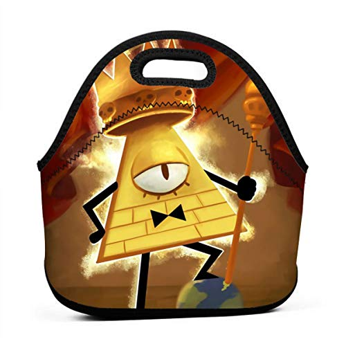 Neoprene Lunch Bags Food Container Tote for Women Men - Portable Insulated Picnic Bento Handbags for Work Outdoor Travel - Gravity Falls King Of Human Will Bill Cipher