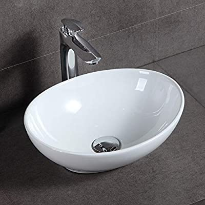 "HOROW 16"" x 13"" Oval White Ceramic Vessel Sink, Above Counter Bathroom Porcelain Vessel Sink, Modern Egg Shape Vanity Bowl"