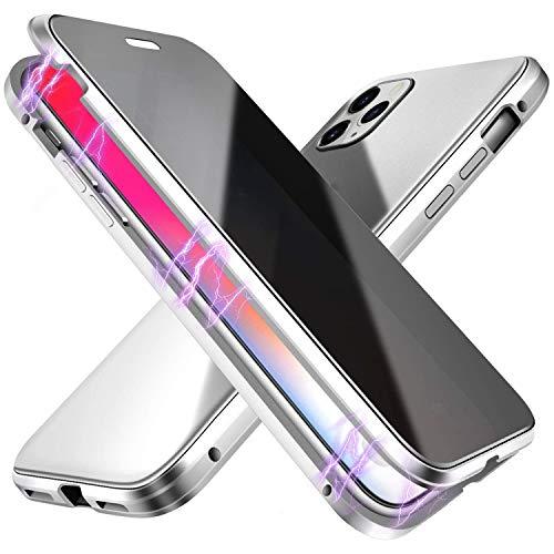 Suhctup Compatible con iPhone 12 Funda de Magnética Anti-pío Carcasa 360 Grados Protección Doble Cara Transparent Vidrio Templado Marco Aluminio Antigolpes Caso-Plata