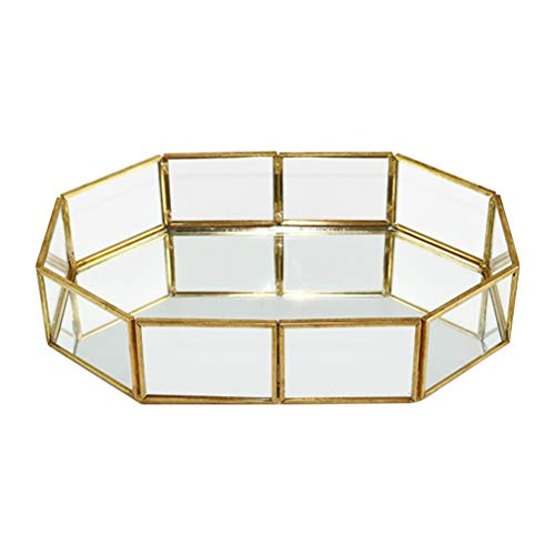 Yardwe Vintage Glasschale Bad Dish Display für Decoraive Vanity Parfüm Schmuck Schmuckstück Arbeitsplatte Halter Kommode Cosmetic Organizer (achteckig)
