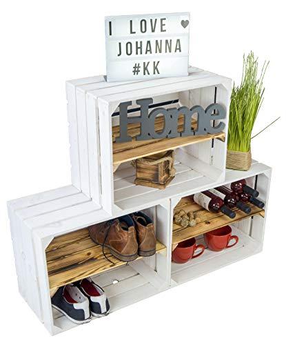 3 x Zapatero de madera barnizada en blanco con tablas longitudinales flameadas con 3 estantes para 12 pares de zapatos como zapatero de madera, tamaño 50 x 40 x 30 cm (cada caja)