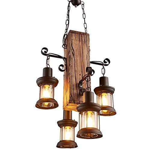 DKORP Chandeliers- iluminación Pendiente Pendiente de la luz Candiles, Modern Industrial Hierro Forjado Metal geométrico Pendiente de la lámpara, Cadena Ajustable, Negro Acabado