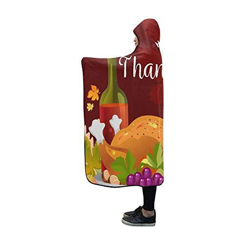 YXUAOQ Mit Kapuze Decke gebratenes ganzes Huhn Truthahn Sauce gegrillte Decke 60 x 50 Zoll Comfotable Hooded Throw Wrap