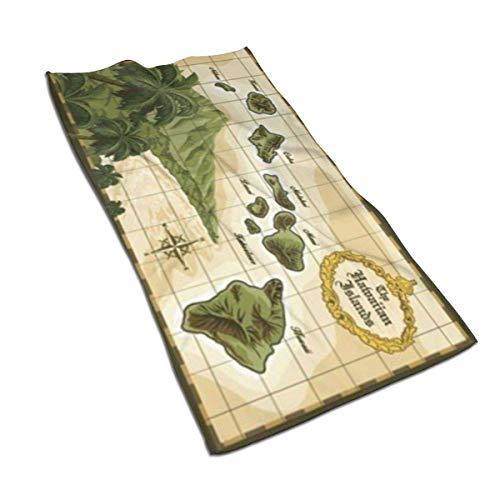 JULOE Toalla de Baño Toallas de Mano Absorbente Paño de Lavado Mapa de Estilo Vintage de Las Islas Hawaianas de Terciopelo 27.5 X 17.5 in